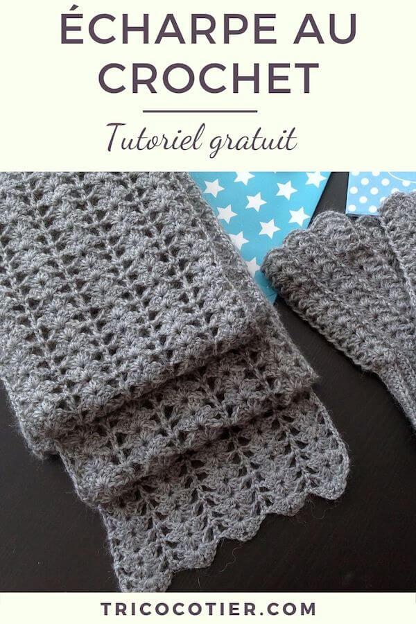 Tuto gratuit pour faire une écharpe au crochet. Des explications avec des photos pour crocheter.