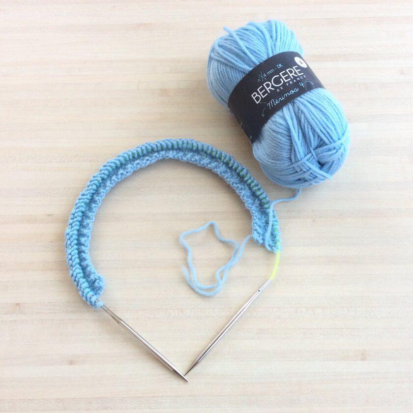 début encours tricot
