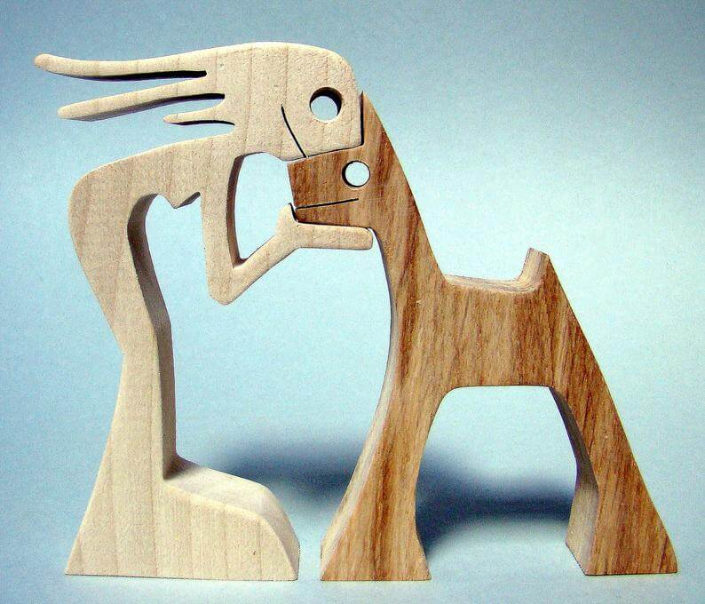 chien en bois etsy