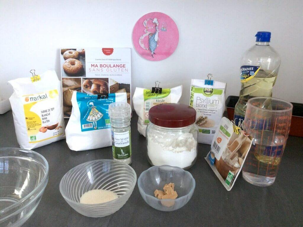 ingrédients pour faire du pain sans gluten