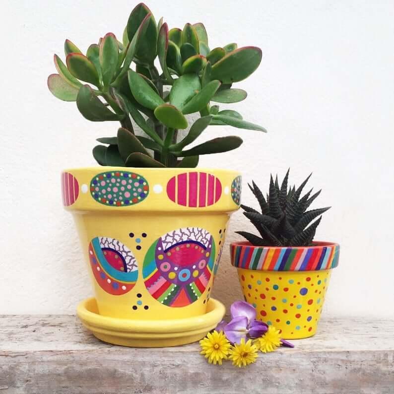 Pot de fleurs peint ETSY