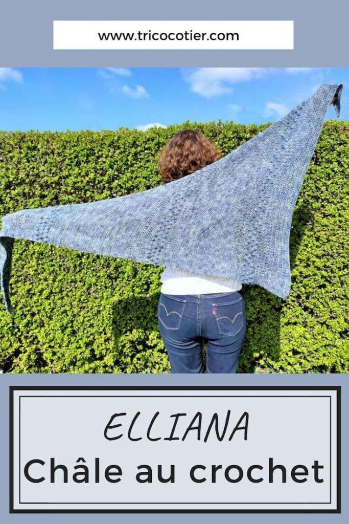 Châle au crochet Elliana d'Aglaé Laser, un modèle moderne et facile Elliana, un patron à télécharger sur Ravelry