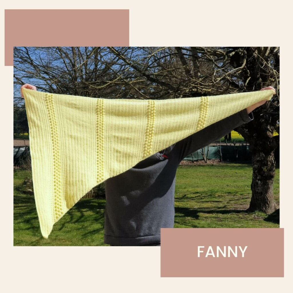 châle jaune au crochet crocheté par Fanny