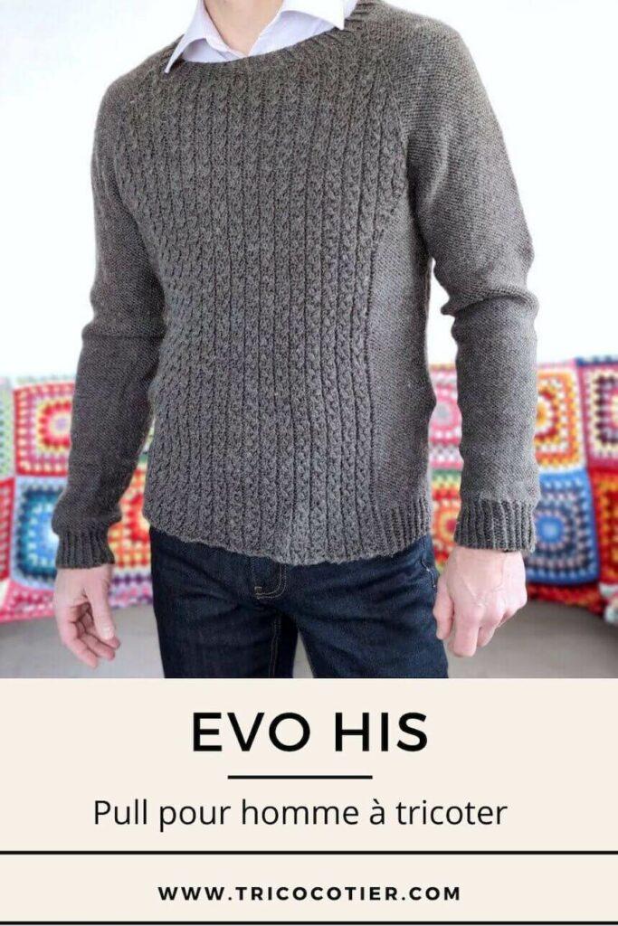 Pull chaud à tricoter pour homme. Patron Evo His. Laine cascade Yarns