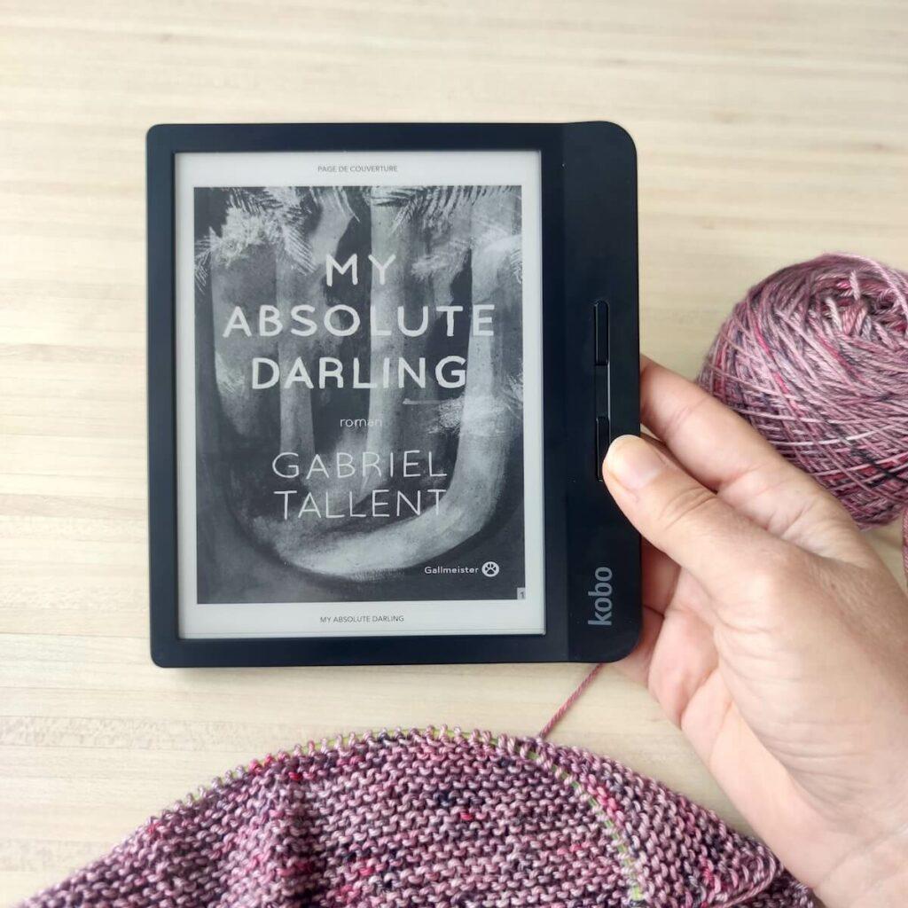 Lire et tricoter avec une liseuse. Letcure d'un roman