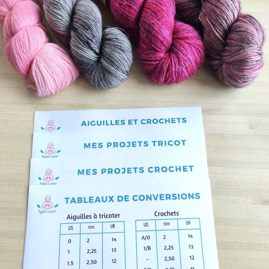 Fiches pratiques de tricot crochet : mémo, projets et tableau de conversion